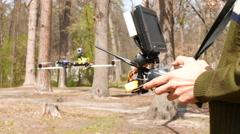 Man drone operator  holding  transmitter. 4K 3840x2160 Stock Footage