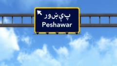 4K Passing Peshawar Pakistan Highway Road Sign with Matte 2 stylized Stock Footage