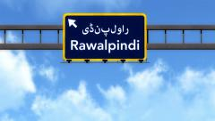 4K Passing Rawalpindi Pakistan Highway Road Sign with Matte 2 stylized - stock footage
