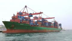 Green Container Ship 4k Stock Footage