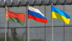 Summit Belarus Russia Ukraine flags - stock footage