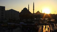 Commuters on their way home from work at sunset in Istanbul City - stock footage