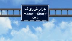 4K Passing Mazar i Sharif Afghanistan Highway Road Sign with Matte 2 stylized Stock Footage