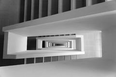 Stock Photo of Looking down stairway rectangular spiral