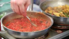 Chef prepares Italian tomato sauce. Stock Footage
