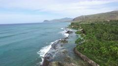 Ohau Hawaii Ocean Shoreline Aerial Stock Footage