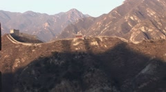 The Great Wall of China Sunset over the Mountains Stock Footage