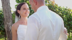 Close Up Of Beautiful Bride Being Kissed By Her Husband - stock footage