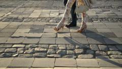 Walking with high heels artificial slow motion. Stock Footage