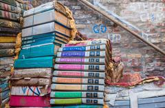VENICE, ITALY - MAR 22, 2014: Old books of Acqua Alta bookstore. This is one  Stock Photos