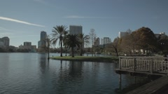 Lake Eola, Orlando Downtown, pan shot Stock Footage