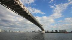 Under rainbow bridge at tokyo bay Stock Footage