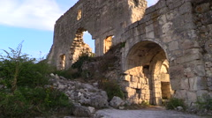 Citadel ruins of the ancient city Mangup-Kale. Crimea, September 2014. Stock Footage
