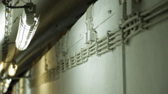 Electrical installations in underground bunker from a cold war Stock Footage