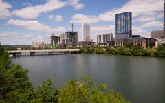New Construction Building Highrise Office Towers Austin Texas Colorado River - stock photo