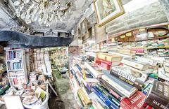 Stock Photo of VENICE, ITALY - MAR 22, 2014: Old books of Acqua Alta bookstore. This is one
