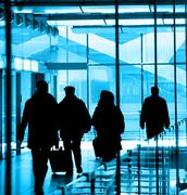 Passengers at the airport - stock photo