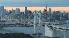 Tokyo bay and rainbow bridge Stock Footage