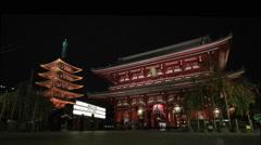 TOKYO, JAPAN - CIRCA 2015 : Sensoji temple at night Stock Footage