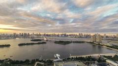 Time lapse rainbow bridge view at Tokyo Bay Stock Footage