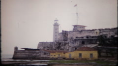 1971 - Morro castle overlooking Havana harbor - vintage film home movie Stock Footage