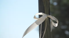 White Silk Decoration Ribbon Stock Footage