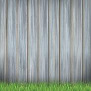 wooden fence and greenfield - stock illustration