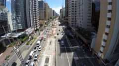 Aerial View of the Avenida Paulista (Paulista Avenue) in Sao Paulo, Brazil Stock Footage