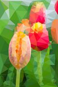 Stock Illustration of Triangular low poly style of tulip