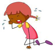 Girl crying - stock illustration