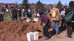 Diverse crowd of people planting trees on Earth day in Toronto in sunny weather Stock Footage