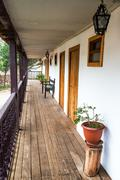 Wooden balcony on a historic colonial building in Tarma, Peru - stock photo