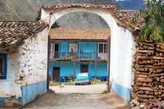 Entrance to a historic colonial hacienda in Tarma, Peru - stock photo