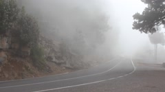 Fog, road, forest - mountain - Pico del teide , Canary islands Stock Footage