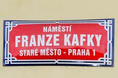 Franz Kafka Street Sign - Prague, Czech Republic - stock photo