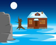 Stock Illustration of Winter landscape with house