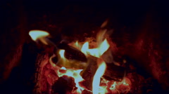 Peat Fire in Fireplace - Close Up Stock Footage