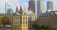 The Hague Den Haag Netherlands skyline buildings skyscrapers Holland Binnenhof Stock Footage