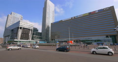 The Hague Den Haag Netherlands architecture skyscraper building Centraal station Stock Footage