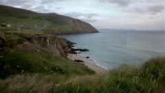 Ocean Cliffs and Beach - Kerry, Ireland Stock Footage