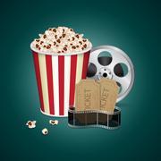 Filmstrip with vintage ticket - stock illustration