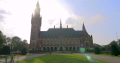 The Peace Palace International Court of Justice Hague Netherlands law building Stock Footage