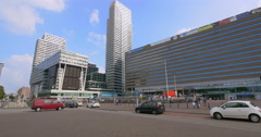 Hague Netherlands city Centraal central station hotel university architecture Stock Footage