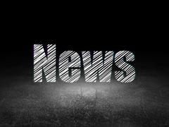 News concept: News in grunge dark room - stock illustration