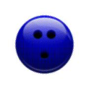 Halftone blue bowling ball - stock illustration