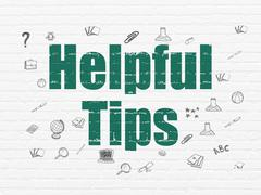 Education concept: Helpful Tips on wall background - stock illustration