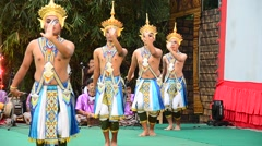 Manohra Dance Classical Thai tune form of folk-dance in the south of Thailand Stock Footage
