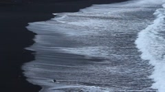Black sand Beach -  ocean, waves - seascape - stock footage
