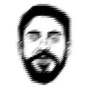 Geometric mosaic trendy man with a beard - stock illustration