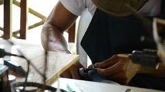 Carpenter made artificial ship models Stock Footage
